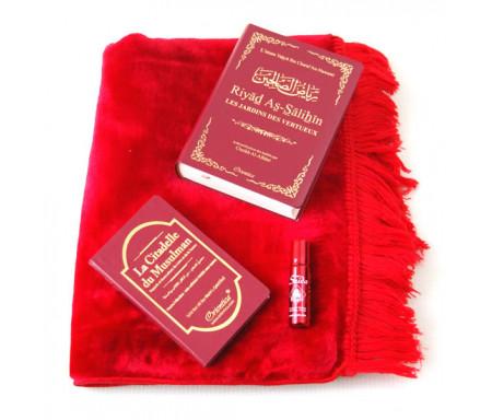 Pack Cadeau Rouge bordeaux : Riyâd As-Sâlihîn (français arabe) + La Citadelle du musulman + Tapis et Parfum de luxe