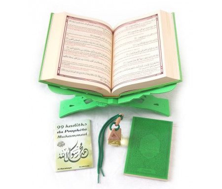 Pack Cadeau vert : Coran de luxe français/arabe/phonétique, La Citadelle du musulman, 99 Hadiths du Prophète, Porte-Coran et parfum