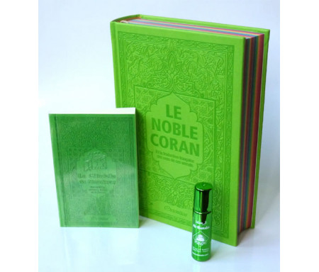 Pack Cadeau Vert : Le Noble Coran Rainbow (Arc-en-ciel) Bilingue français/arabe, La Citadelle du Musulman et parfum Al-Baraka mixte