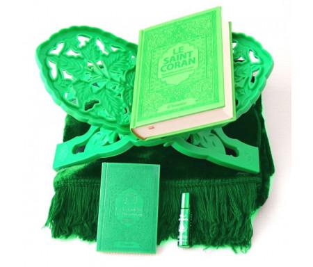 Pack Cadeau Vert : Le Saint Coran (français-arabe-phonétique), La Citadelle du musulman, Porte Coran, Tapis et Parfum de luxe
