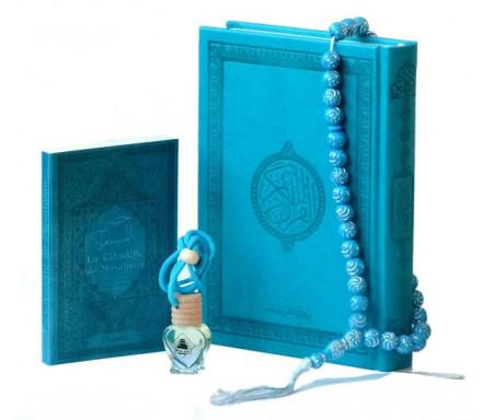 Pack Cadeaux Bleu : Le Saint Coran version arabe + La Citadelle du musulman + Diffuseur de parfum + Chapelet
