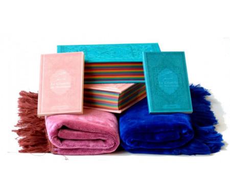 Pack cadeaux mariage : Le Saint Coran avec couleurs Arc-en-ciel, La Citadelle du Musulman et Tapis assorties (Bleu/Rose)
