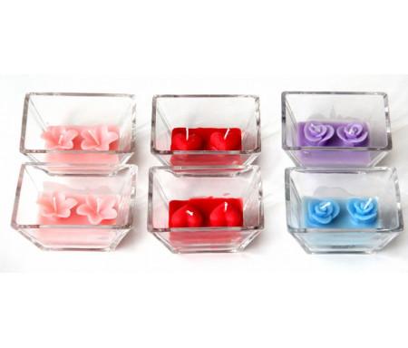 Pack de 6 Bougies double parfumées dans sa boite avec un ruban cadeau en couleur