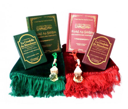Pack double cadeaux Vert et bordeaux : Ryâd es-Salihîne, La Citadelle du Musulman, Diffuseur de parfum et Tapis