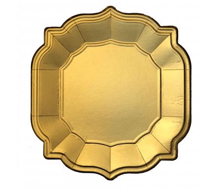 Lot de quatre (4) Assiettes / Sous-assiette style Oriental dorée mat