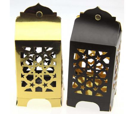 Lot de 4 lanternes festives réversibles noire et dorée