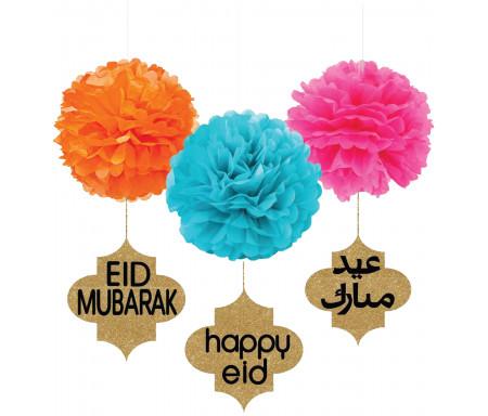 Ensemble de 3 pompons multicolores avec Médaillons de l'Eid