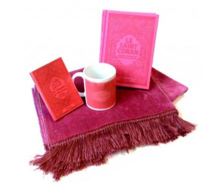 Coffret Cadeau Rose pour femme musulmane : Mug personnalisé + Le Saint Coran (fr/ar/phonétique) + La Citadelle du musulman (invocations en Islam) + Tapis de prière
