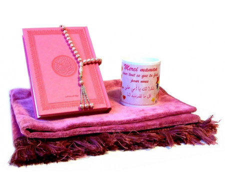 Coffret Cadeau musulman pour Maman : Tapis de prière + Coran (arabe) + Chapelet + Mug de couleur assortie rose