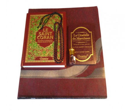 Coffret Cadeau Homme (Bordeaux) : Le Saint Coran Phonétique et La Citadelle du musulman (deux livres français arabe phonétique), Tapis, Musk pour hommes, Chapelet