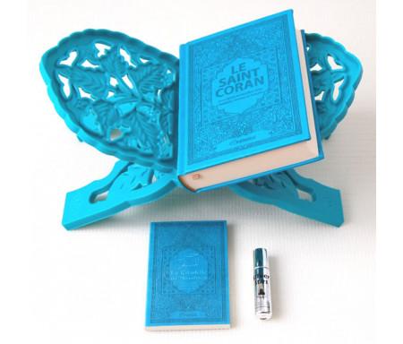 """Coffret Cadeau Homme (Bleu) : Le Saint Coran français-arabe-phonétique, La Citadelle du musulman, Porte-Coran et parfum """"Silver Stars"""""""