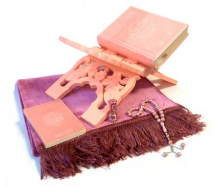 Coffret cadeau de luxe rose clair pour femmes : Le Saint Coran, La Citadelle (français/arabe/phonétique) + Porte Coran + Tapis + Chapelet + Parfum Musc pour femme