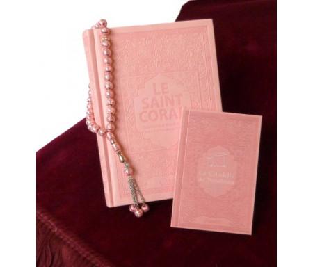 Coffret cadeau de luxe rose clair pour femme : Le Saint Coran (français/arabe/phonétique) + La citalle du musulman + Chapelet