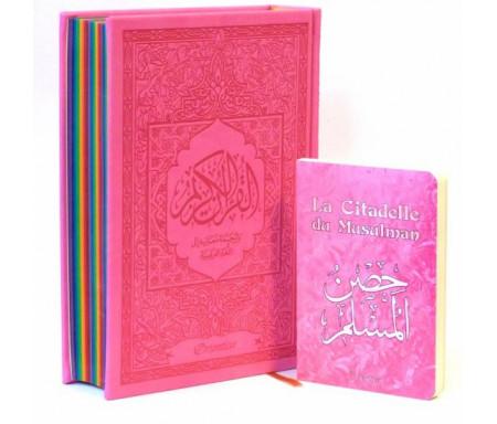 Coffret Cadeau Coran Rose pas cher : Le Saint Coran avec couleurs Arc-en-ciel + La Citadelle du Musulman