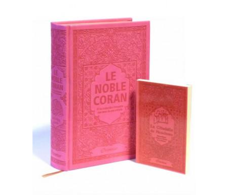 Coffret Cadeau Coran Rose pas cher : Le Noble Coran Rainbow (Arc-en-ciel) Bilingue français/arabe et La Citadelle du Musulman assortie