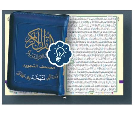 Coran Tajwid avec zip, Chaque page contient un quart de hizb