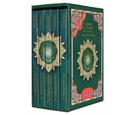 Saint Coran Al-Tajwid - arabe avec traduction des sens en français et transversion (transcription phonétique) - foureau 5 volumes