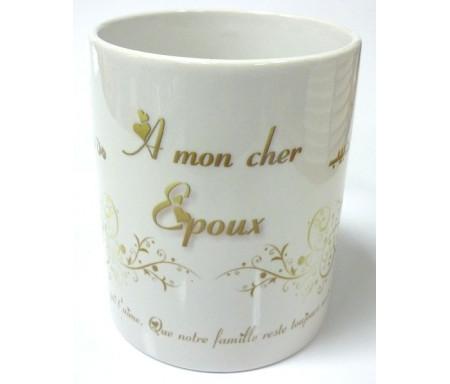 """Mug """"A mon cher époux. De la part de ton épouse qui t'aime."""""""