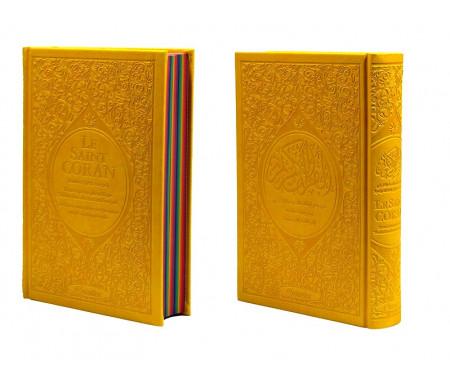 Le Saint Coran Rainbow (Arc-en-ciel) - Français/arabe avec transcription phonétique - Edition de luxe (Couverture Cuir Jaune)