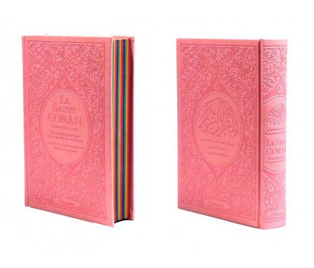 Le Saint Coran Rainbow (Arc-en-ciel) - Français/arabe avec transcription phonétique - Edition de luxe (Couverture Cuir Rose Claire)
