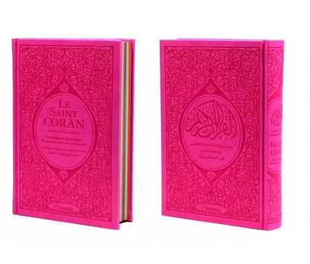 Le Saint Coran Rainbow (Arc-en-ciel) - Français/arabe avec transcription phonétique - Edition de luxe (Couverture Cuir Rose)