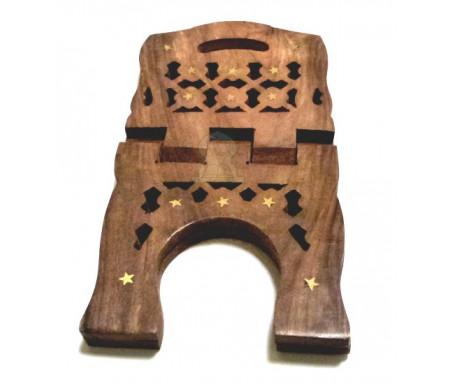 Grand porte Coran artisanal en bois joliment sculpté et décoré de pièces en métal doré (40 cm)