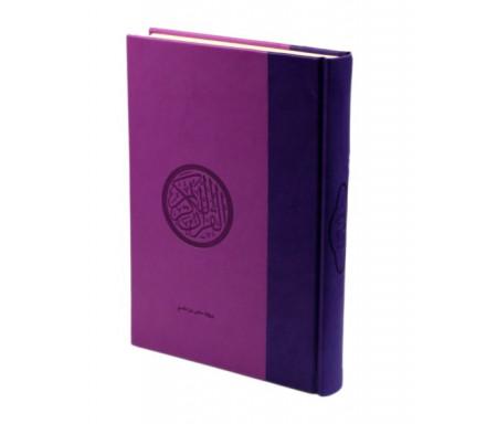 Le Saint Coran (17 x 24 cm) version arabe (Lecture Hafs) de luxe avec couverture en daim mauve et violet