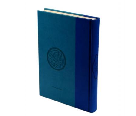 Le Saint Coran (17 x 24 cm) version arabe (Lecture Hafs) de luxe avec couverture en daim Bleu