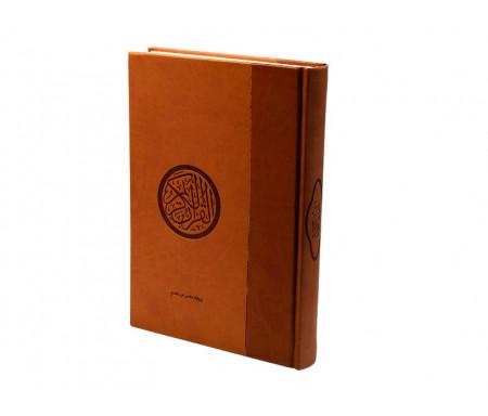 Le Saint Coran (17 x 24 cm) version arabe (Lecture Hafs) de luxe avec couverture en daim marron et camel