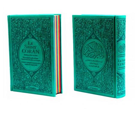 Le Saint Coran Rainbow (Arc-en-ciel) - Français/arabe avec transcription phonétique - Edition de luxe (Couverture Cuir Vert-bleu)