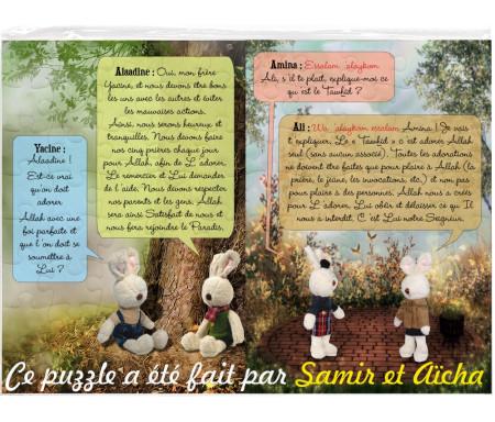Puzzle personnalisable avec le prénom de l'enfant : J'apprends ma religion avec la famille Arnoube / Puzzle 80 pièces