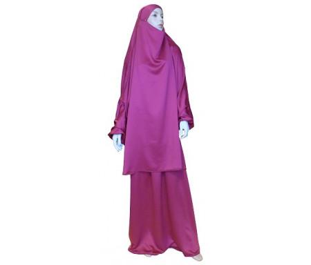 Jilbab réversible (satiné/normal) deux pièces (Cape + Jupe évasée) - Taille S/M - Couleur rose lilas
