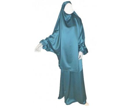 Jilbab réversible (satiné/normal) deux pièces (Cape + Jupe évasée) - Taille S/M Coloris vert foncé
