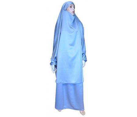 Jilbab réversible (satiné/normal) deux pièces (Cape + Jupe évasée) - Taille S/M - Couleur gris clair