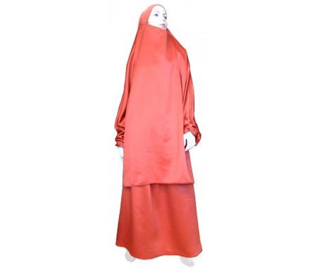 Jilbab réversible (satiné/normal) deux pièces (Cape + Jupe évasée) - Taille S/M - Coloris rouge