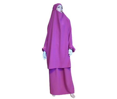 Jilbab réversible (satiné/normal) deux pièces (Cape + Jupe évasée) - Taille S/M - Coloris rose