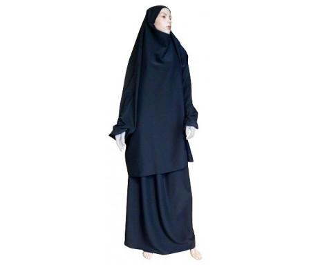Jilbab réversible (satiné/normal) deux pièces (Cape + Jupe évasée) - Taille S/M - Coloris noir