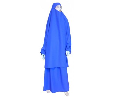 Jilbab réversible (satiné/normal) deux pièces (Cape + Jupe évasée) - Taille S/M - Coloris bleue
