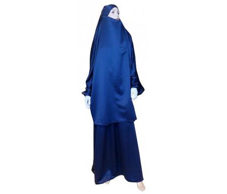 Jilbab réversible (satiné/normal) deux pièces (Cape + Jupe évasée) - Taille S/M - Coloris bleu marine