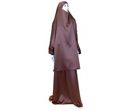 Jilbab réversible (satiné/normal) deux pièces (Cape + Jupe évasée) - Taille L/XL - Coloris marron