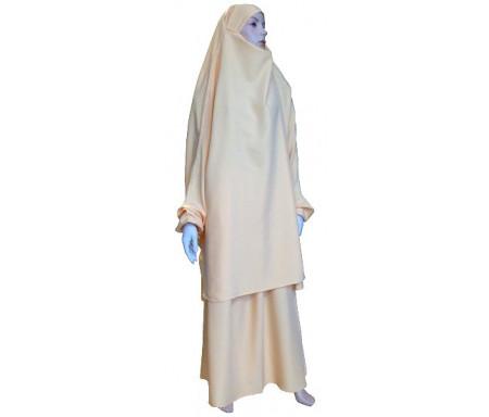 Jilbab réversible (satiné/normal) deux pièces (Cape + Jupe évasée) - Taille S/M - Couleur beige / jaune ocre