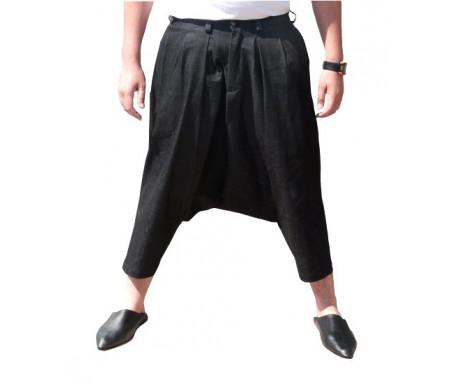 Pantalon sarouel jeans Al-Haramayn Deluxe à ceinture pour homme - Modèle bouton avec fermeture éclair - Taille M
