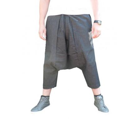 Pantalon sarouel jeans Al-Haramayn Deluxe avec ceinture à passant semi élastique pour homme - Modèle Cordon - Taille S