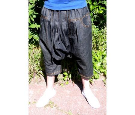 Pantalon sarouel jean noir Al-Haramayn Deluxe - Taille XXL - Modèle Cordon et poche normale