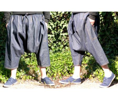 Pantalon sarouel jeans bleu marine Al-Haramayn Deluxe (Taille L) - Modèle Cordon et poche avec fermeture zip