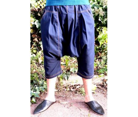 Pantalon Sarouel / Serwal confort en gabardine de coton pour homme - Taille L - Coloris bleu marine