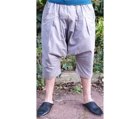 Pantalon sarouel / serwal confort en gabardine de coton pour homme - Taille L - Coloris gris