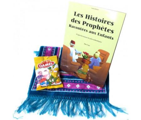 Pack Cadeau Enfant : Livre Les Histoires des Prophètes Racontées aux Enfants + Confiseries Bonbons Halal + Tapis de prière enfant