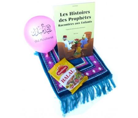 """Pack Cadeau Enfant : Livre Les Histoires des Prophètes Racontées aux Enfants + Confiseries Bonbons Halal + Tapis de prière enfant + 10 ballons """"Aïd Moubarak"""""""