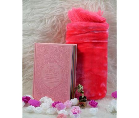Coffret/Pack Cadeau Rose clair : Le Saint Coran Rainbow (français/arabe/phonétique), Tapis de prière et Diffuseur de parfum